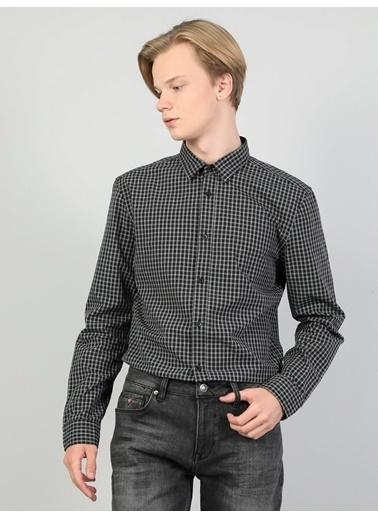 Colin's Slim Fit Shirt Neck Erkek Antrasit Uzun Kol Gömlek Renkli